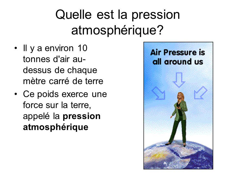 Quelle est la pression atmosphérique? Il y a environ 10 tonnes d'air au- dessus de chaque mètre carré de terre Ce poids exerce une force sur la terre,