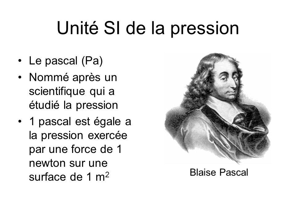 Unité SI de la pression Le pascal (Pa) Nommé après un scientifique qui a étudié la pression 1 pascal est égale a la pression exercée par une force de