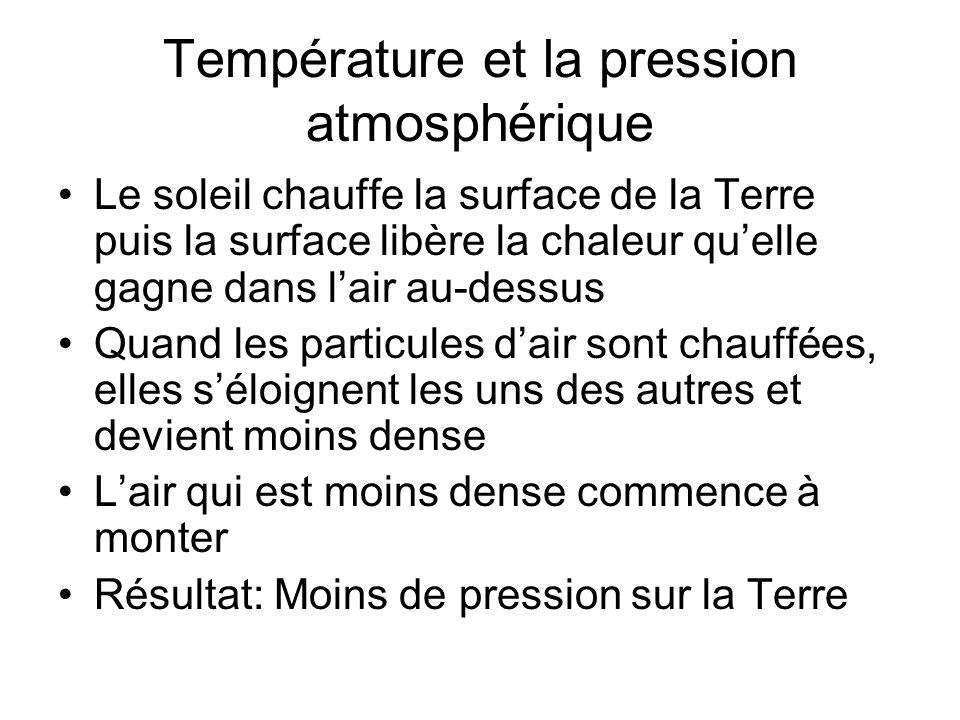 Température et la pression atmosphérique Le soleil chauffe la surface de la Terre puis la surface libère la chaleur quelle gagne dans lair au-dessus Q