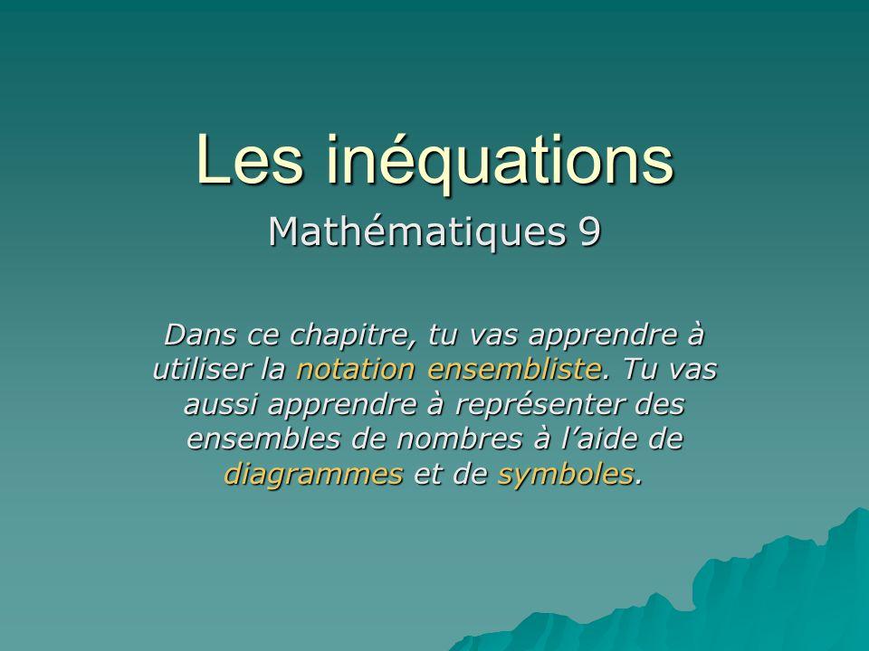 Les inéquations Mathématiques 9 Dans ce chapitre, tu vas apprendre à utiliser la notation ensembliste. Tu vas aussi apprendre à représenter des ensemb