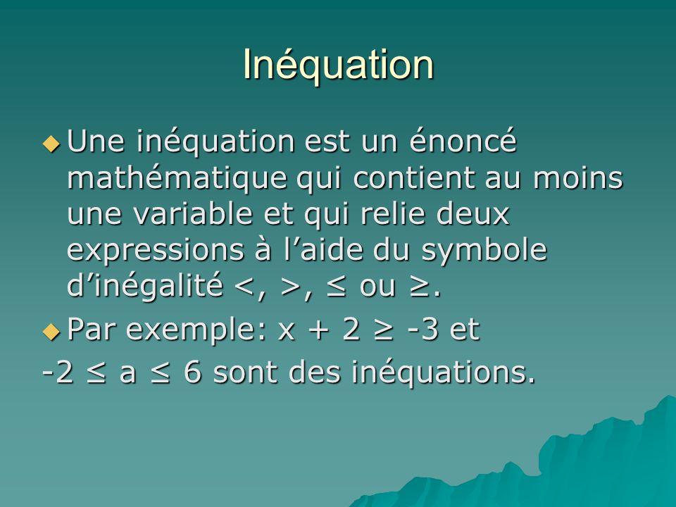 Inéquation Une inéquation est un énoncé mathématique qui contient au moins une variable et qui relie deux expressions à laide du symbole dinégalité, o