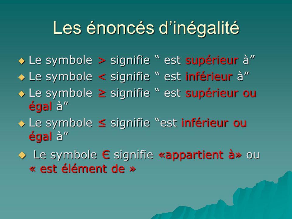 Les énoncés dinégalité Le symbole > signifie est supérieur à Le symbole > signifie est supérieur à Le symbole < signifie est inférieur à Le symbole <