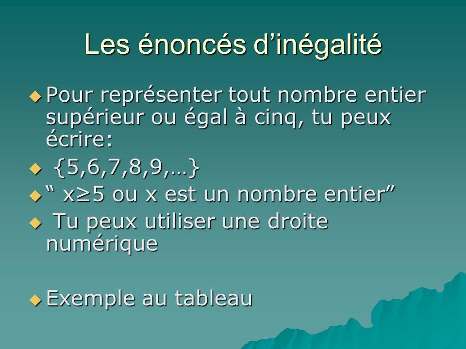 Les énoncés dinégalité Pour représenter tout nombre entier supérieur ou égal à cinq, tu peux écrire: Pour représenter tout nombre entier supérieur ou