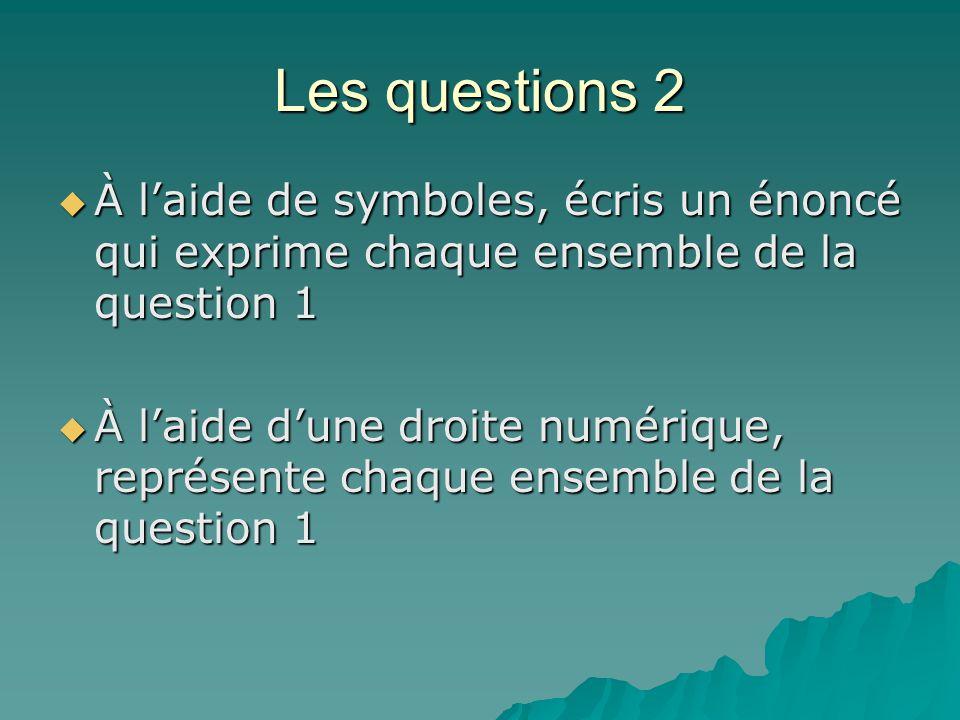 Les questions 2 À laide de symboles, écris un énoncé qui exprime chaque ensemble de la question 1 À laide de symboles, écris un énoncé qui exprime cha