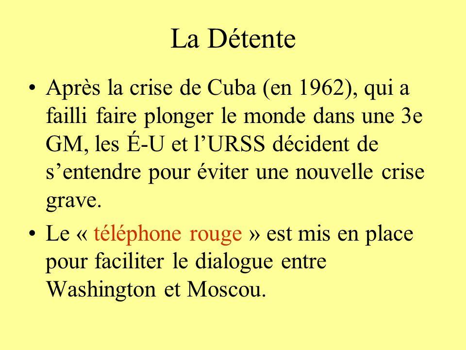 La Détente Après la crise de Cuba (en 1962), qui a failli faire plonger le monde dans une 3e GM, les É-U et lURSS décident de sentendre pour éviter un