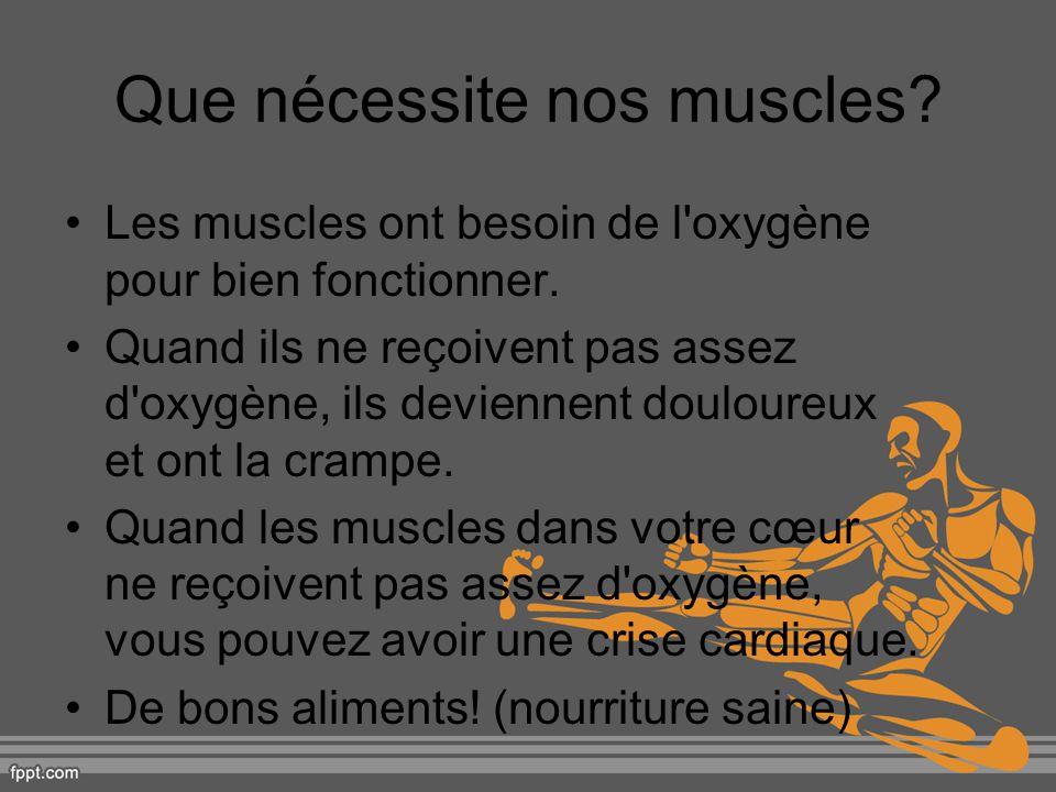 Que nécessite nos muscles? Les muscles ont besoin de l'oxygène pour bien fonctionner. Quand ils ne reçoivent pas assez d'oxygène, ils deviennent doulo
