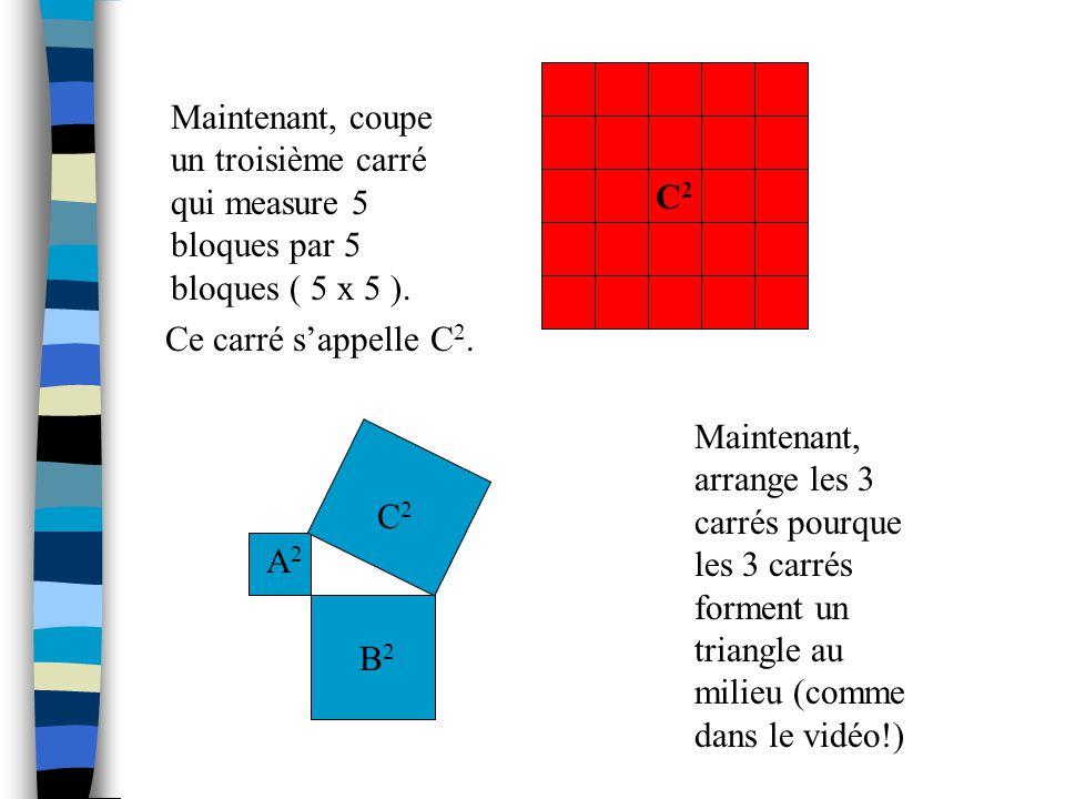 Pour résoudre les problèmes du vidéo, on commence avec ceci: Coupe un carré qui measure 3 bloques par 3 bloques (3 x 3). Coupe un deuxième carré qui m