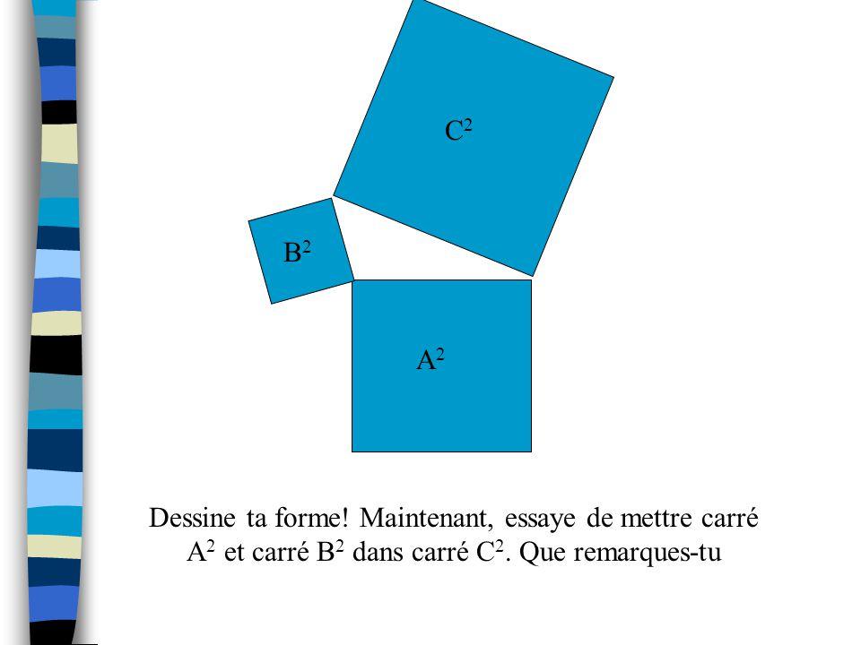 Maintenant, coupe un carré (A 2 ) qui measure 16cm 2 et un carré (B 2 ) qui measure 4cm 2 et un carré (C 2 ) qui measure 25cm 2. A2A2 B2B2 Essaye de f