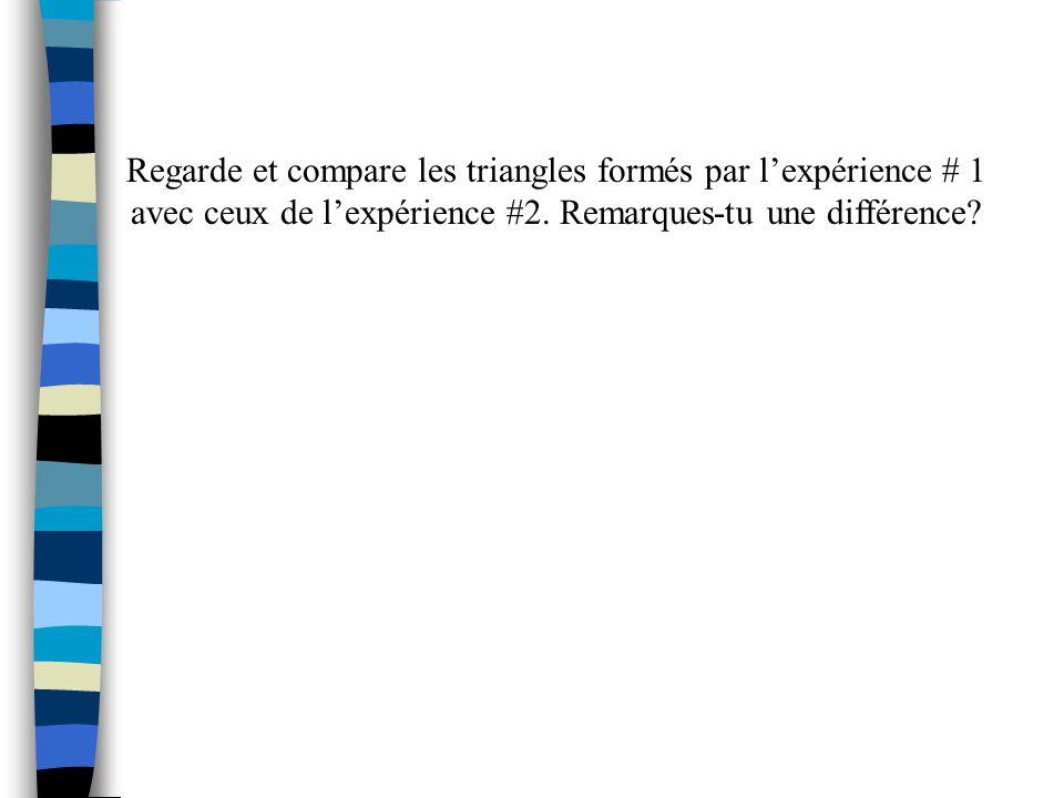 Pour lexpérience # 1: A 2 + B 2 = C 2 Pour lexpérience # 2: A 2 + B 2 C 2