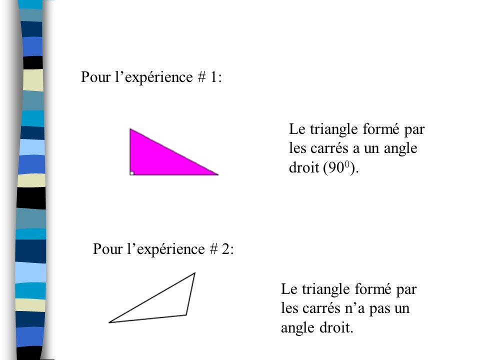 Regarde et compare les triangles formés par lexpérience # 1 avec ceux de lexpérience #2. Remarques-tu une différence?