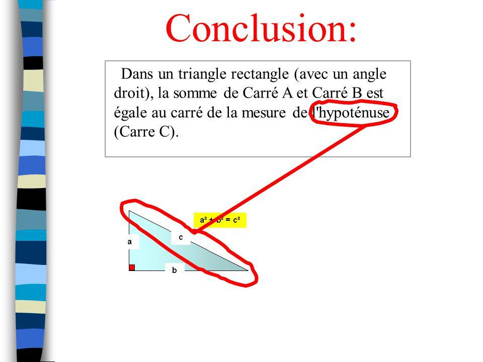 Pour lexpérience # 1: Le triangle formé par les carrés a un angle droit (90 0 ). Pour lexpérience # 2: Le triangle formé par les carrés na pas un angl