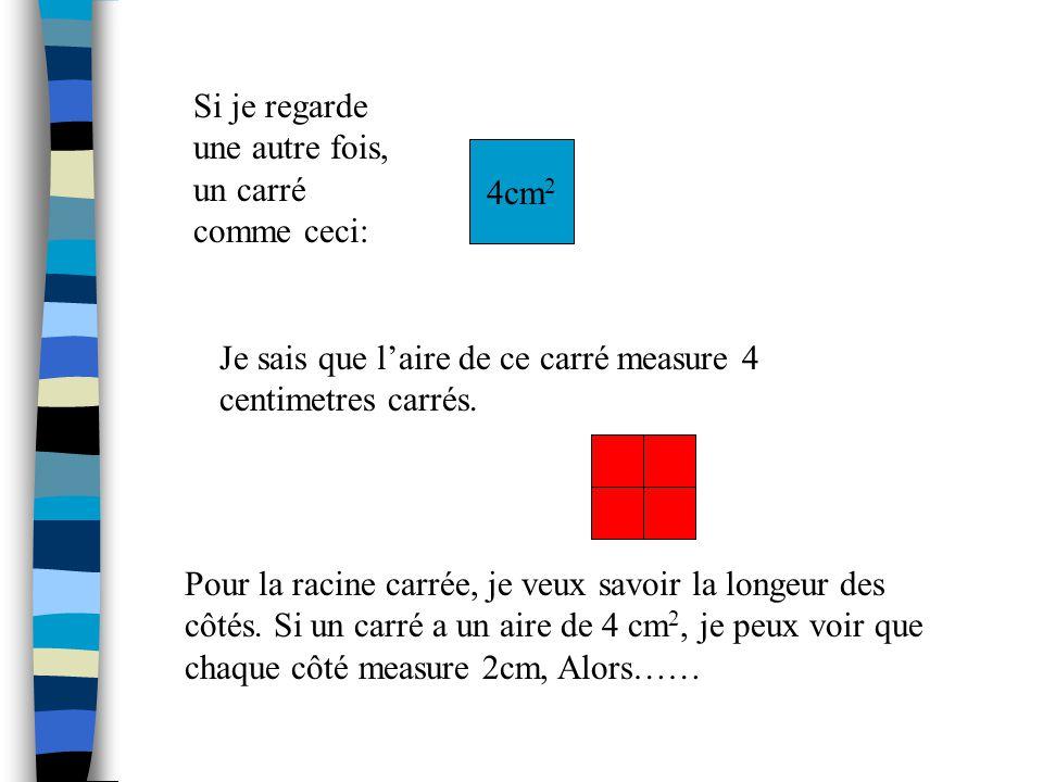 Voila les carrés de 1 a 12. 1 2 = 1 x 1 = 17 2 = 7 x 7 = 49 2 2 = 2 x 2 = 48 2 = 8 x 8 = 64 3 2 = 3 x 3 = 99 2 = 9 x 9 = 81 4 2 = 4 x 4 = 16 10 2 = 10