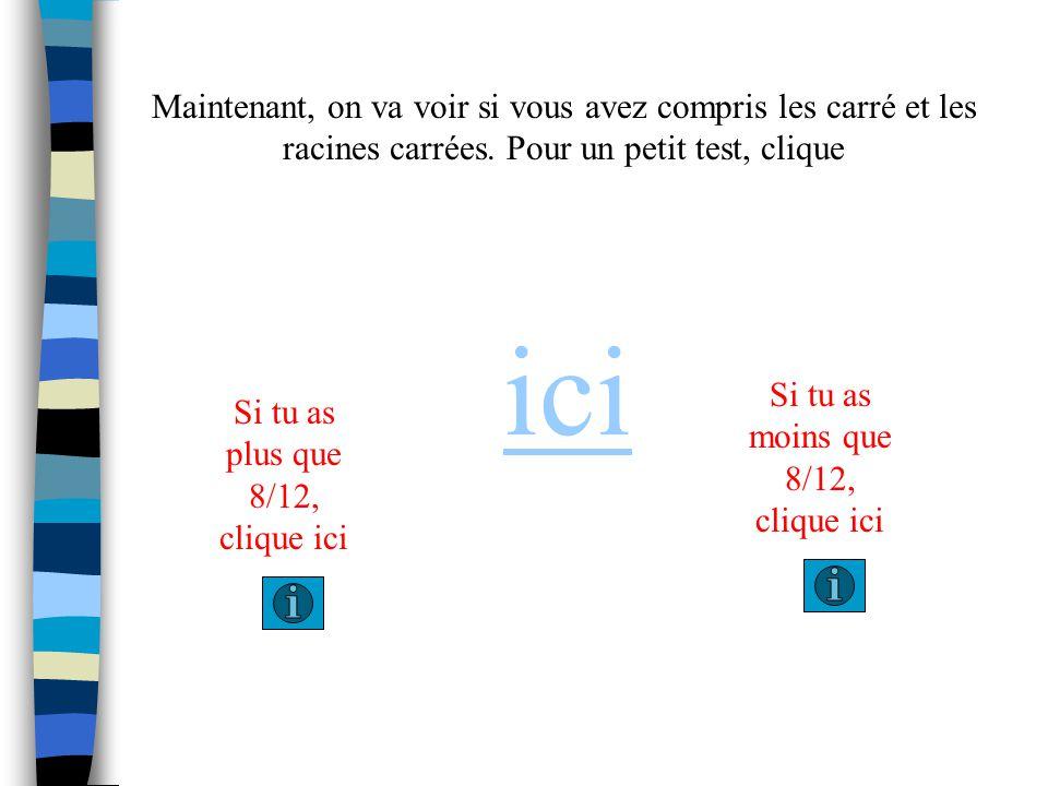 Pour un carré qui a un aire de 144 cm 2, je sais que le ressemble ceci. 144 cm 2 12 cm Il y a 144 bloques dans ce carré ou laire egale 144cm 2. Pour t