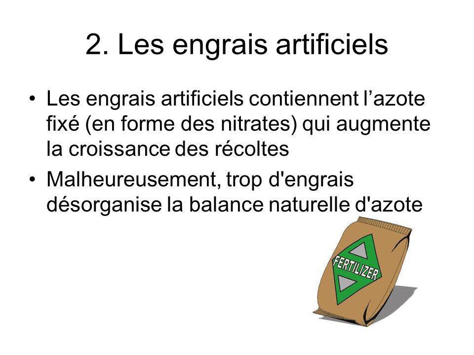 2. Les engrais artificiels Les engrais artificiels contiennent lazote fixé (en forme des nitrates) qui augmente la croissance des récoltes Malheureuse