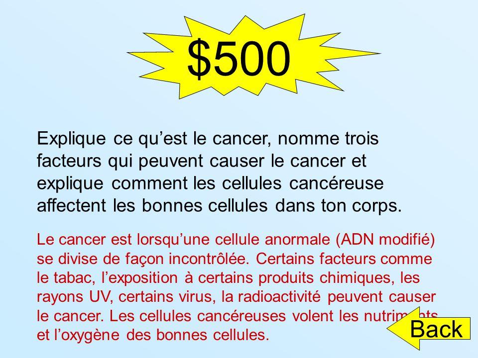 $500 Explique ce quest le cancer, nomme trois facteurs qui peuvent causer le cancer et explique comment les cellules cancéreuse affectent les bonnes c