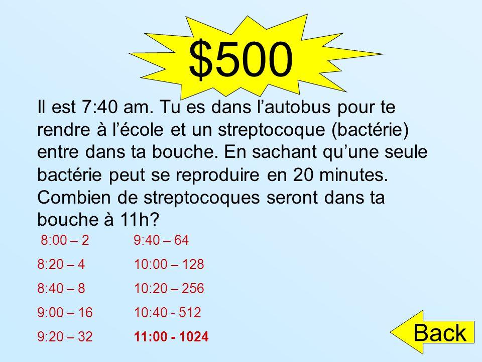 $500 Il est 7:40 am. Tu es dans lautobus pour te rendre à lécole et un streptocoque (bactérie) entre dans ta bouche. En sachant quune seule bactérie p