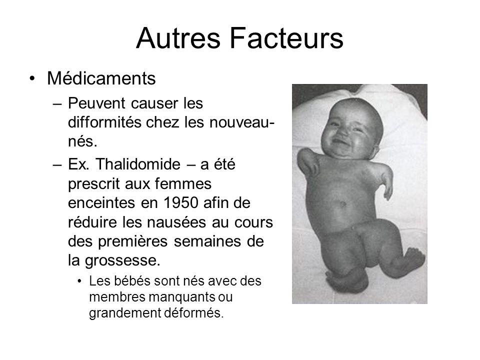 Autres Facteurs Médicaments –Peuvent causer les difformités chez les nouveau- nés. –Ex. Thalidomide – a été prescrit aux femmes enceintes en 1950 afin
