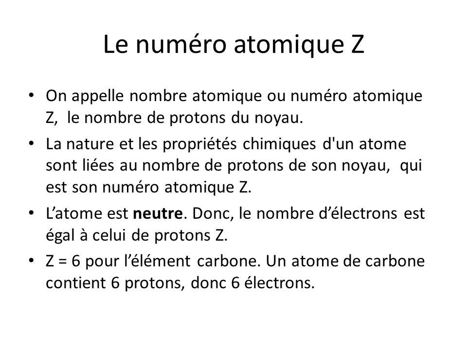 Le numéro atomique Z On appelle nombre atomique ou numéro atomique Z, le nombre de protons du noyau. La nature et les propriétés chimiques d'un atome