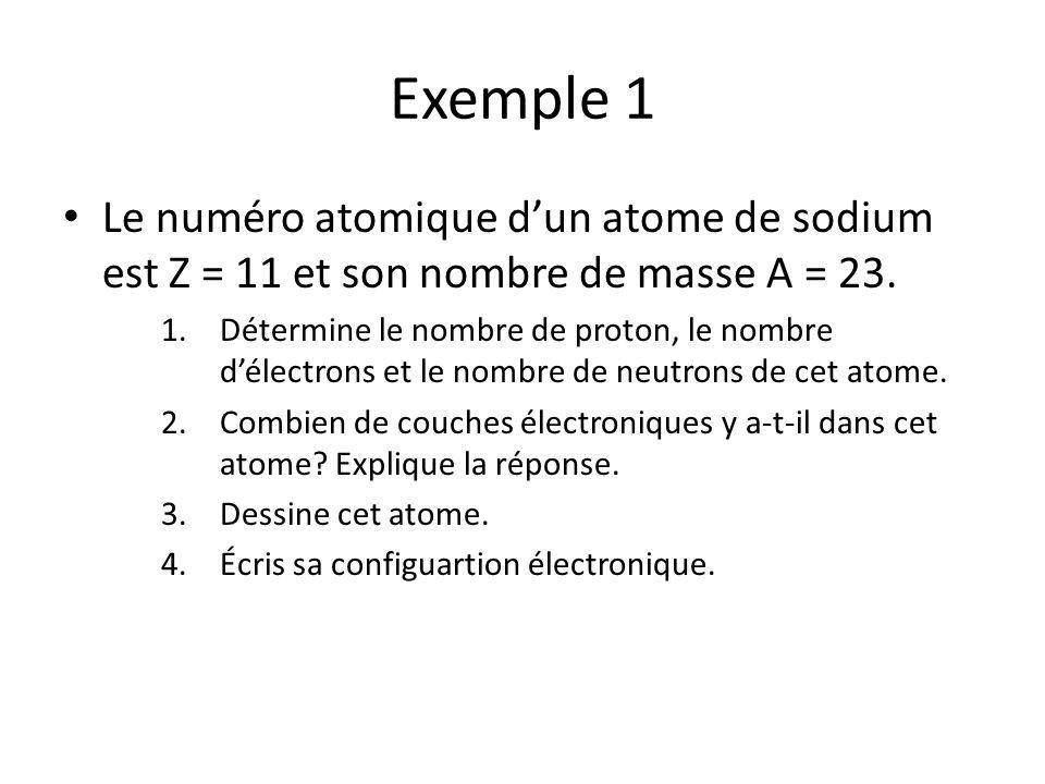 Exemple 1 Le numéro atomique dun atome de sodium est Z = 11 et son nombre de masse A = 23. 1.Détermine le nombre de proton, le nombre délectrons et le
