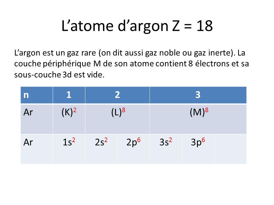 Latome dargon Z = 18 Largon est un gaz rare (on dit aussi gaz noble ou gaz inerte). La couche périphérique M de son atome contient 8 électrons et sa s