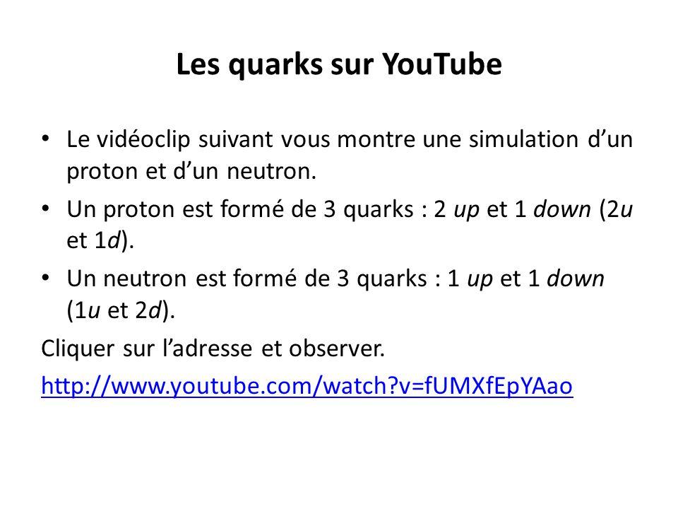 Les quarks sur YouTube Le vidéoclip suivant vous montre une simulation dun proton et dun neutron. Un proton est formé de 3 quarks : 2 up et 1 down (2u