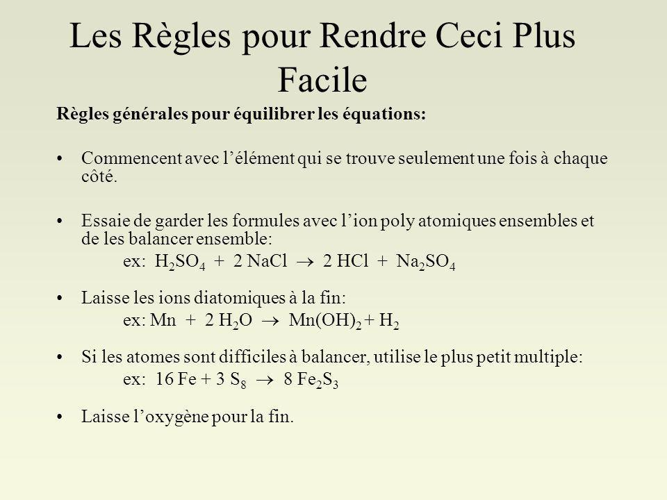 Alors: Équation chimiques balancées: Écrire léquation (en mots pour la réaction) hydrogène + oxygène eau Écrire une équation squelette par remplaçant