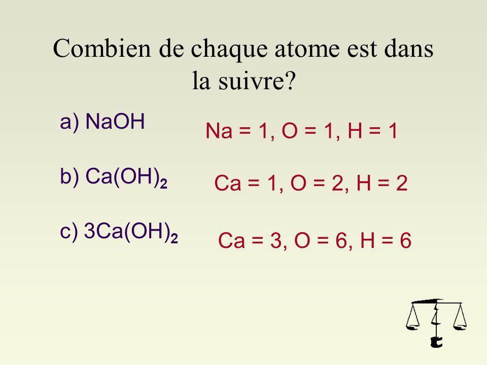 Comment les molécules sont symbolisées Cl 2 2Cl 2Cl 2 Les molécules peuvent avoir aussi des parenthèses pour indiquer des nombres d'atomes. E.g. Ca(OH