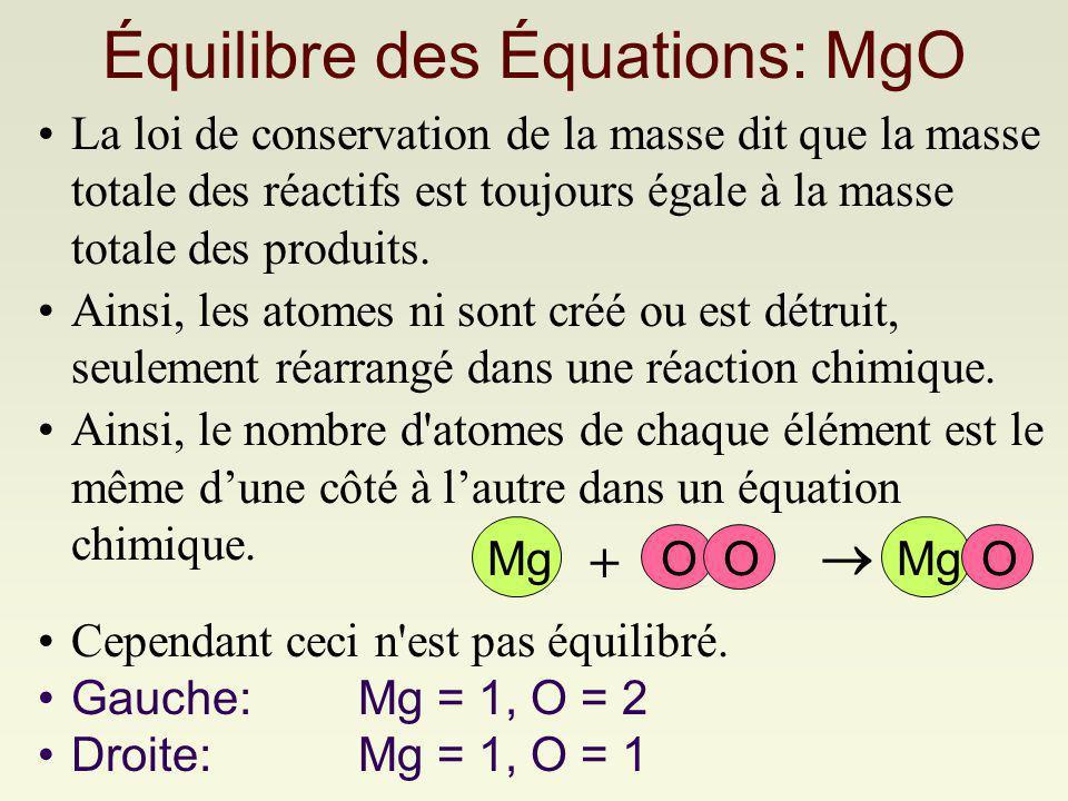 Équilibre des Équations: MgO La loi de conservation de la masse dit que la masse totale des réactifs est toujours égale à la masse totale des produits.