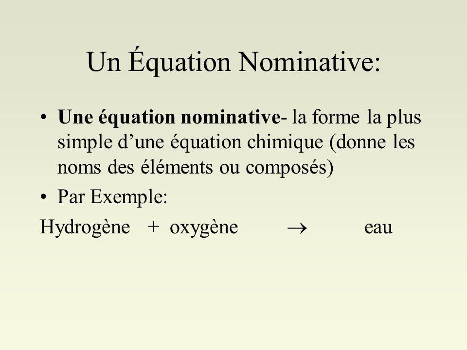 Un Équation Nominative: Une équation nominative- la forme la plus simple dune équation chimique (donne les noms des éléments ou composés) Par Exemple: Hydrogène + oxygène eau