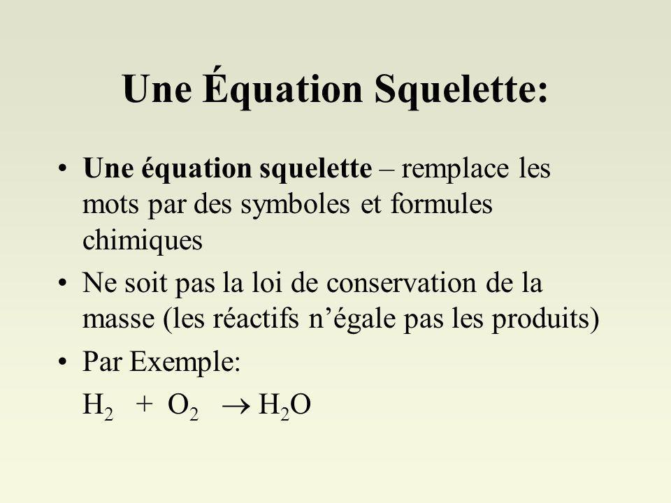 Une Équation Squelette: Une équation squelette – remplace les mots par des symboles et formules chimiques Ne soit pas la loi de conservation de la masse (les réactifs négale pas les produits) Par Exemple: H 2 + O 2 H 2 O