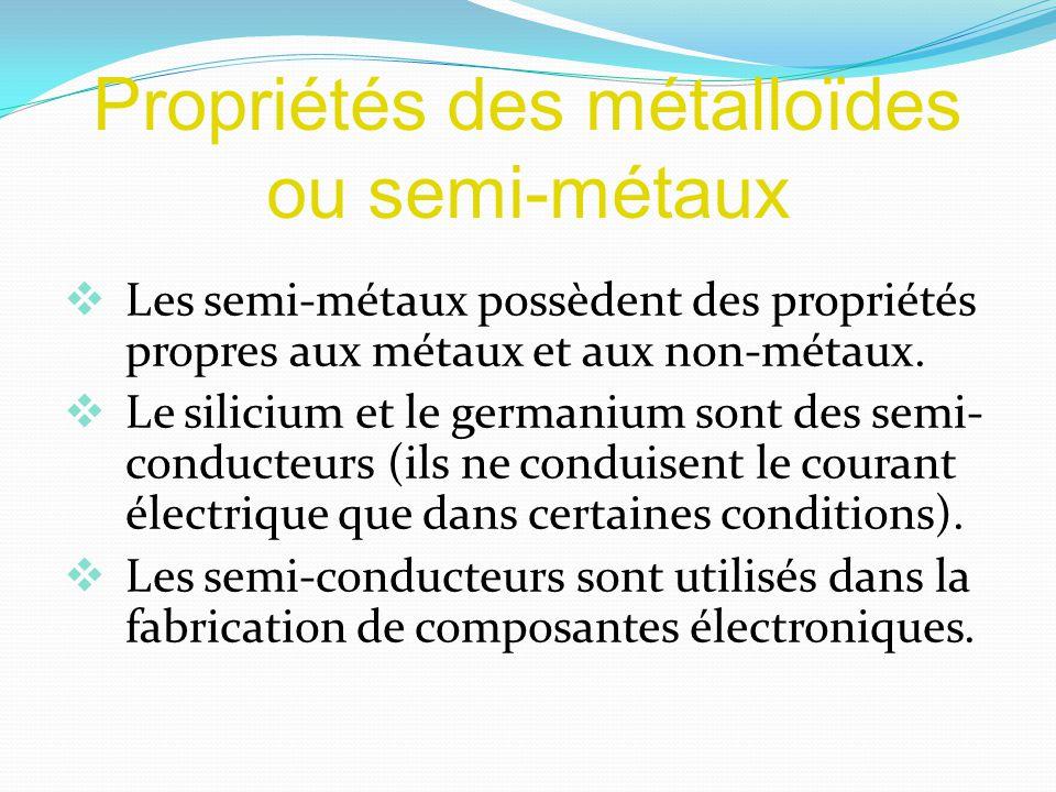 Propriétés des métalloïdes ou semi-métaux Les semi-métaux possèdent des propriétés propres aux métaux et aux non-métaux.