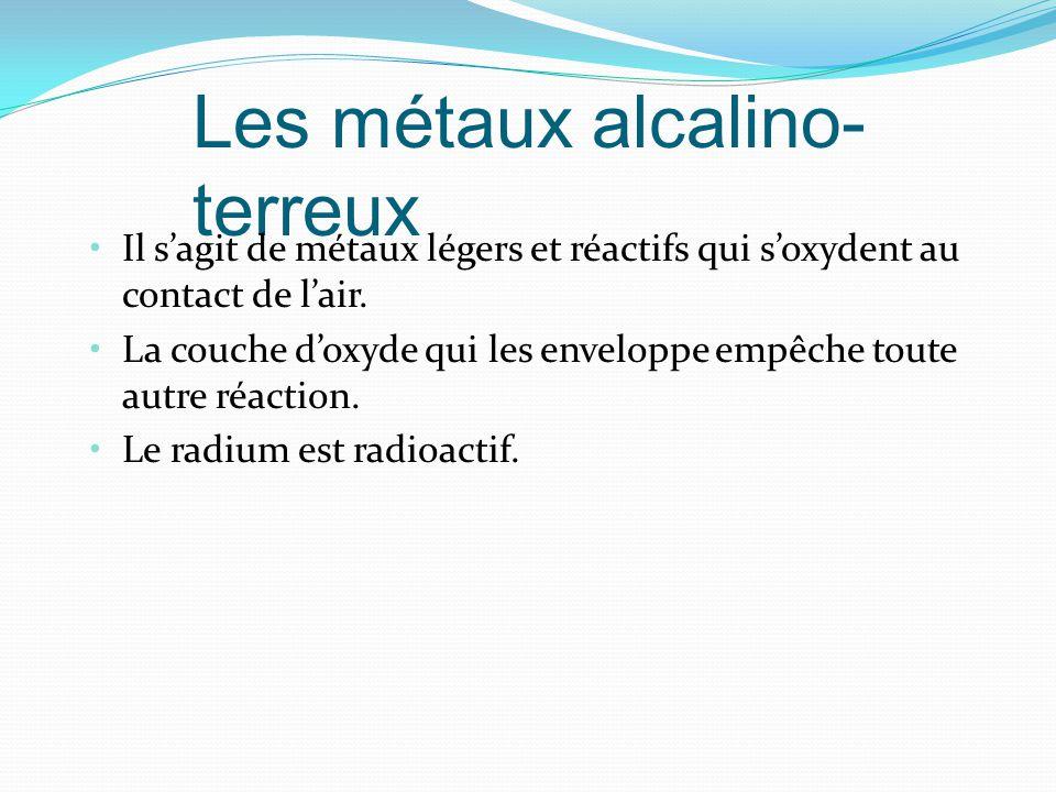 Les métaux alcalino- terreux Il sagit de métaux légers et réactifs qui soxydent au contact de lair.