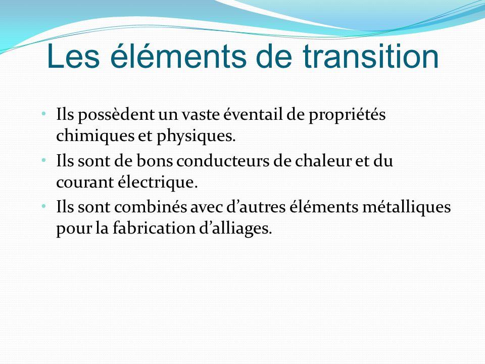 Les éléments de transition Ils possèdent un vaste éventail de propriétés chimiques et physiques.