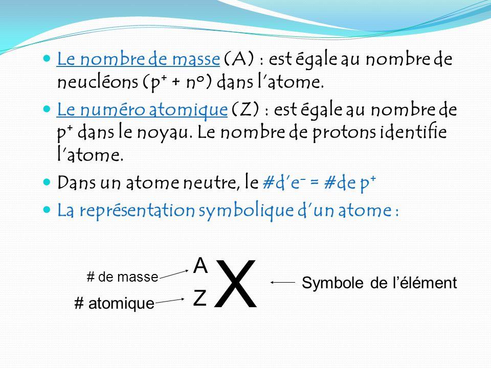 Le nombre de masse (A) : est égale au nombre de neucléons (p + + n o ) dans latome.