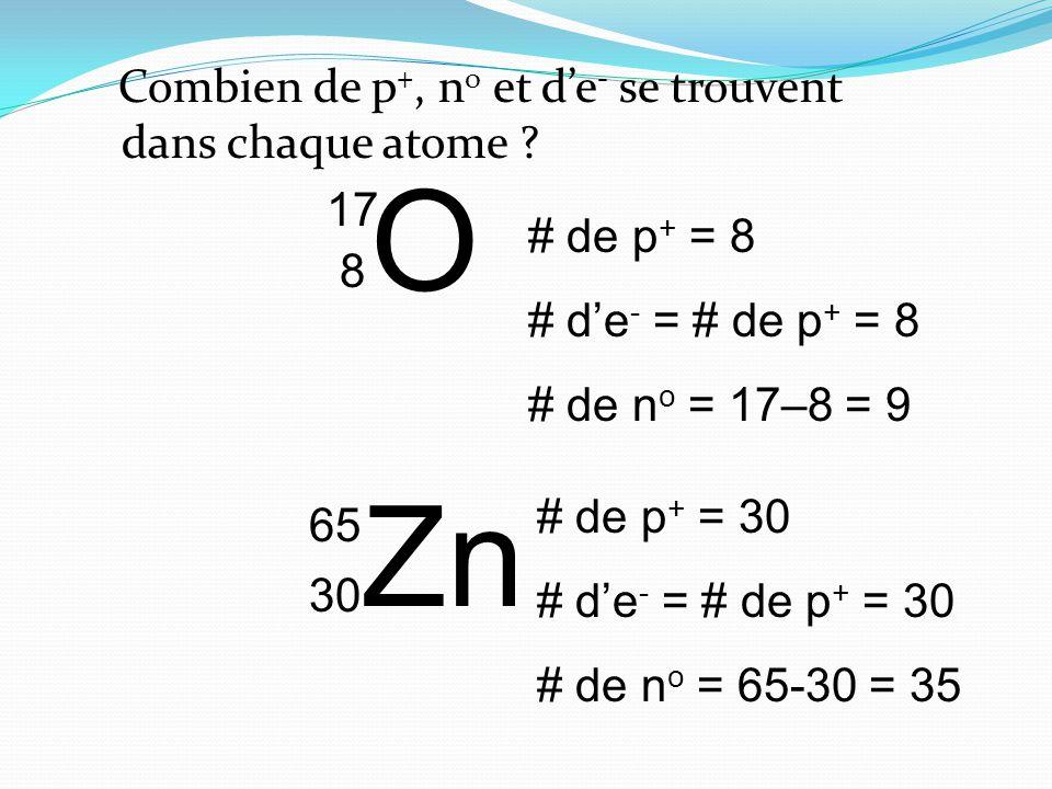 Combien de p +, n o et de - se trouvent dans chaque atome .