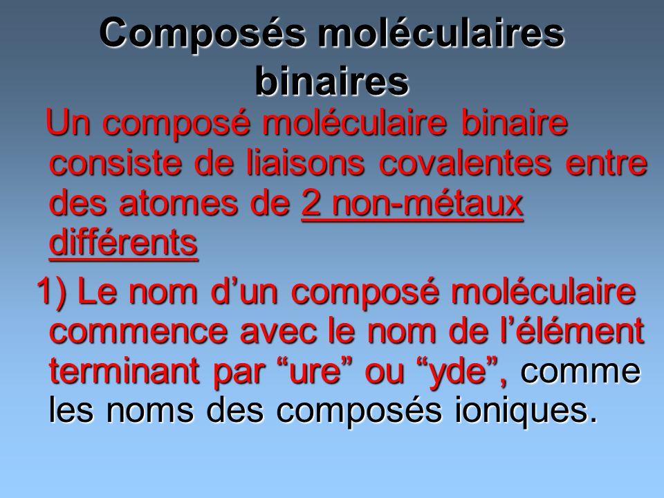 Composés moléculaires binaires Un composé moléculaire binaire consiste de liaisons covalentes entre des atomes de 2 non-métaux différents Un composé m