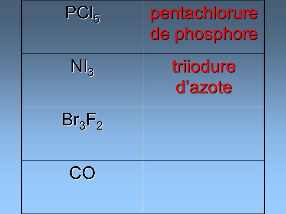 PCl 5 pentachlorure de phosphore NI 3 triiodure dazote Br 3 F 2 CO