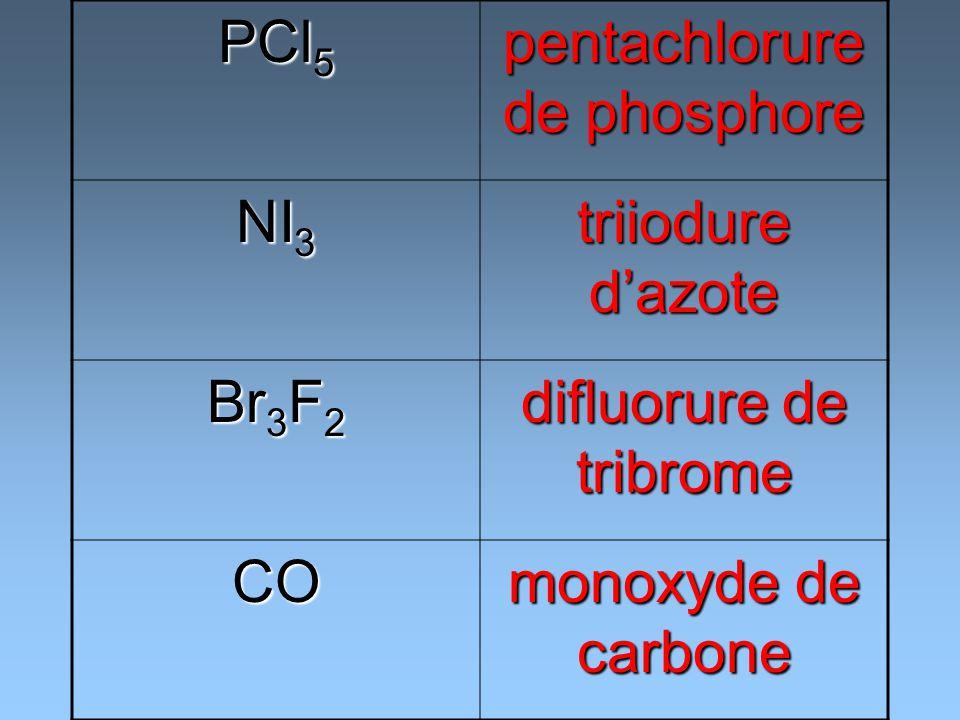 PCl 5 pentachlorure de phosphore NI 3 triiodure dazote Br 3 F 2 difluorure de tribrome CO monoxyde de carbone