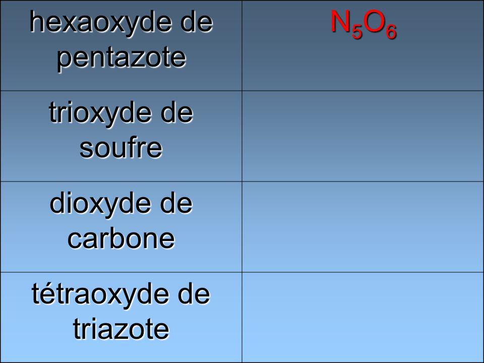 hexaoxyde de pentazote N5O6N5O6N5O6N5O6 trioxyde de soufre dioxyde de carbone tétraoxyde de triazote