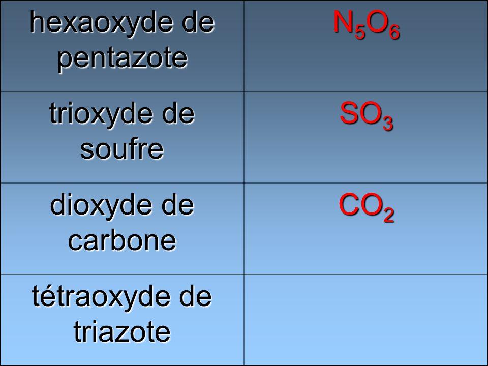 hexaoxyde de pentazote N5O6N5O6N5O6N5O6 trioxyde de soufre SO 3 dioxyde de carbone CO 2 tétraoxyde de triazote