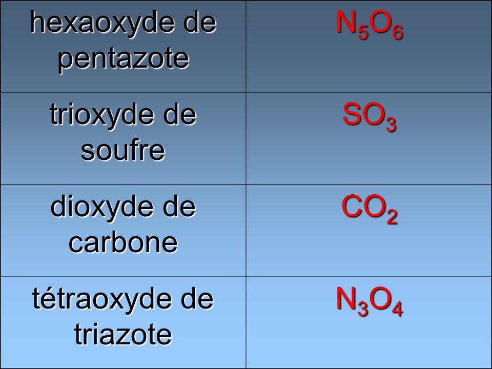 hexaoxyde de pentazote N5O6N5O6N5O6N5O6 trioxyde de soufre SO 3 dioxyde de carbone CO 2 tétraoxyde de triazote N3O4N3O4N3O4N3O4