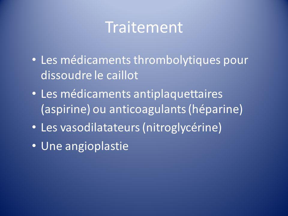 Traitement Les médicaments thrombolytiques pour dissoudre le caillot Les médicaments antiplaquettaires (aspirine) ou anticoagulants (héparine) Les vas