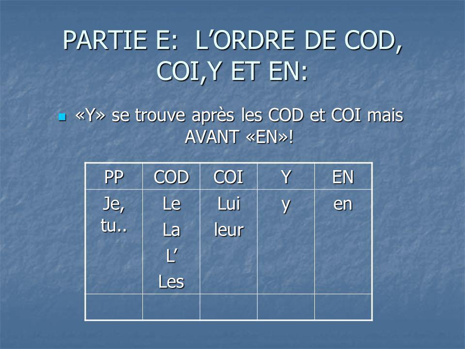 PARTIE E: LORDRE DE COD, COI,Y ET EN: «Y» se trouve après les COD et COI mais AVANT «EN».