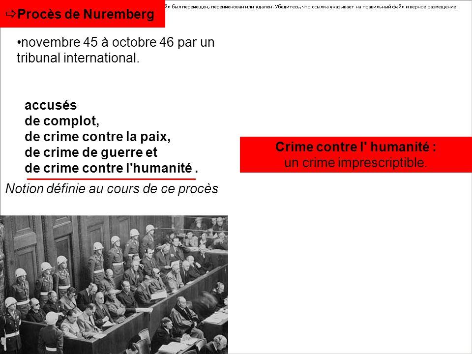 Procès de Nuremberg accusés de complot, de crime contre la paix, de crime de guerre et de crime contre l'humanité. Crime contre l' humanité : un crime