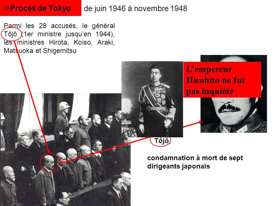 Tôjô, Procès de Tokyo de juin 1946 à novembre 1948 Parmi les 28 accusés, le général Tôjô (1er ministre jusquen 1944), les ministres Hirota, Koiso, Ara