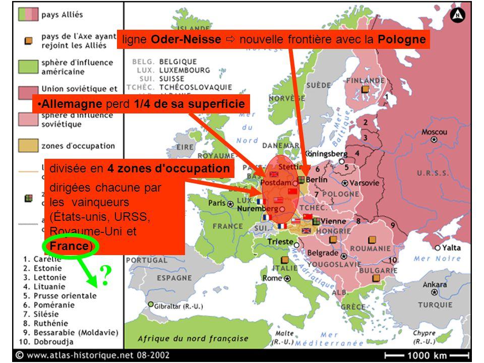dirigées chacune par les vainqueurs (États-unis, URSS, Royaume-Uni et France). divisée en 4 zones d'occupation Allemagne perd 1/4 de sa superficie lig