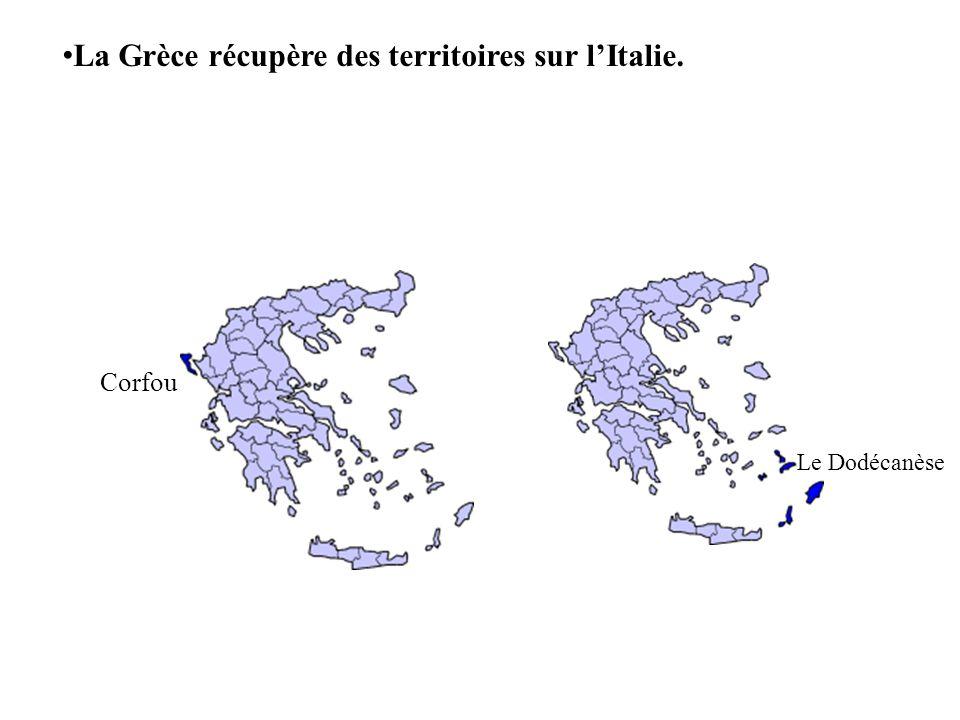 La Grèce récupère des territoires sur lItalie. Corfou Le Dodécanèse