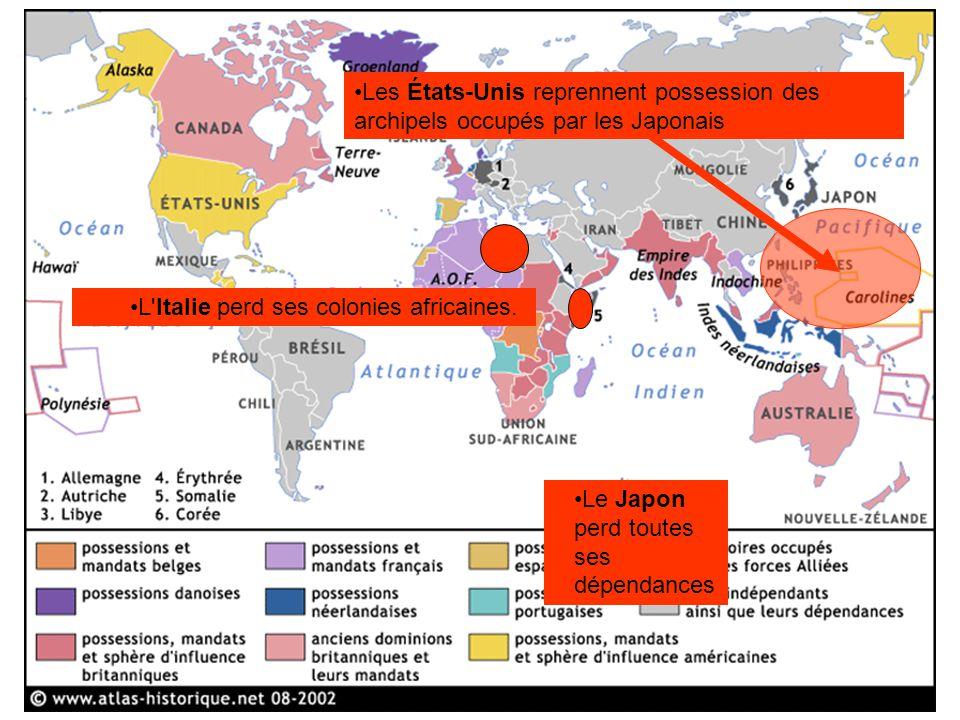 Les États-Unis reprennent possession des archipels occupés par les Japonais L'Italie perd ses colonies africaines. Le Japon perd toutes ses dépendance