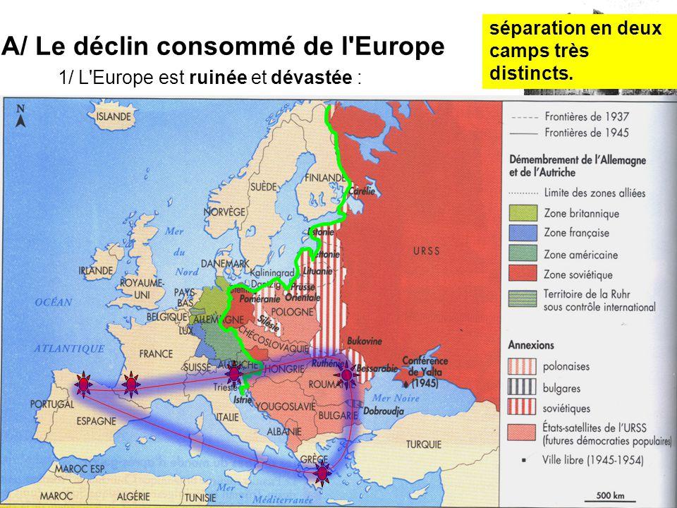 1/ L'Europe est ruinée et dévastée : ne peut plus jouer le rôle de puissance dominante dans les empires coloniaux, les prémices de la décolonisation s