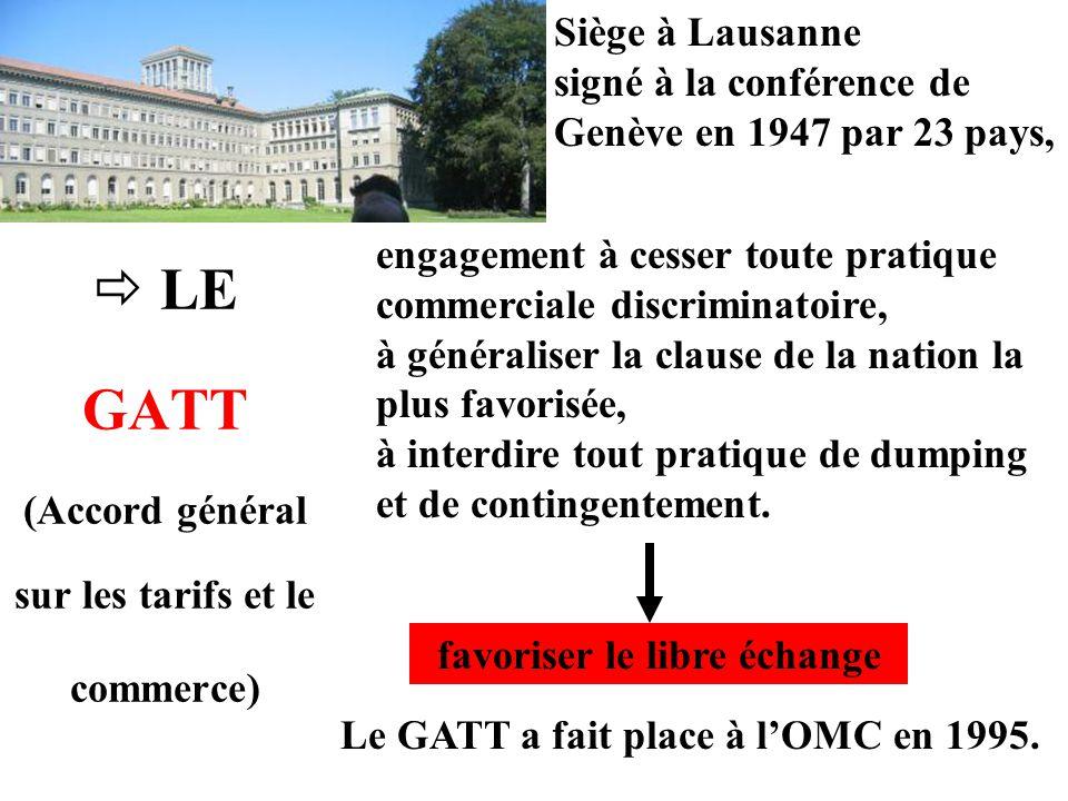 LE GATT (Accord général sur les tarifs et le commerce) Siège à Lausanne signé à la conférence de Genève en 1947 par 23 pays, engagement à cesser toute